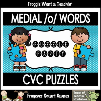 """CVC Word Puzzles--Medial /o/ Words """"Puzzle Party"""""""
