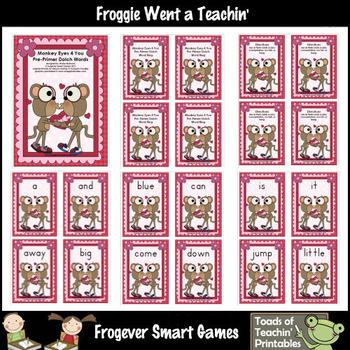 Valentines Day-- Monkey Eyes 4 You Pre-Primer Dolch Sight Words