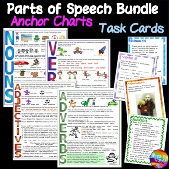 Language Task Cards Charts NOUNS VERBS ADJECTIVES ADVERBS