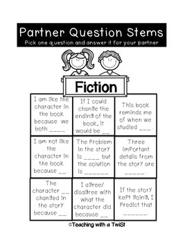 Literacy Center Notebooks:  Questioning Stem Grids