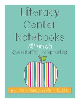 Literacy Center Notebooks Questioning Stem Grids {Spanish}