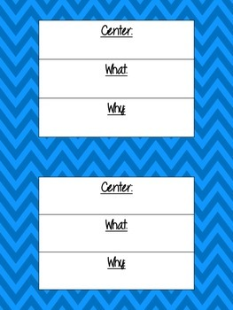Literacy Center Objective & Rationale Signs *FREE* chevron theme