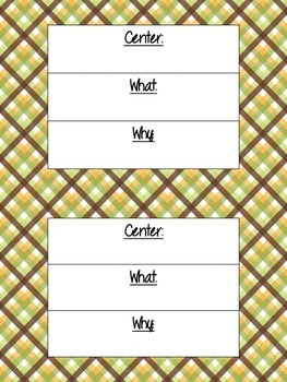 Literacy Center Objective & Rationale Signs FREEBIE!! (Grn,Brwn,Ylw theme)
