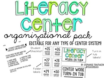 Literacy Center Organizational Pack