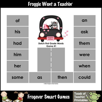 Valentine's Day--Park Your Car Sight Word Game First Grade Dolch Words