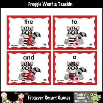 Valentine's Day--Park Your Car Sight Word Game Pre-Primer Dolch Words