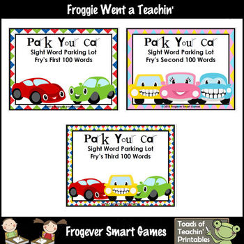 Literacy Center -- Park Your Car Sight Word Parking Lot Bundle (300 Fry Words)