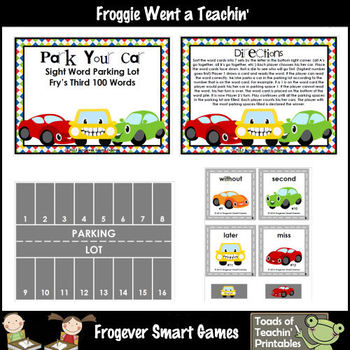Literacy Center -- Park Your Car Sight Word Parking Lot (T