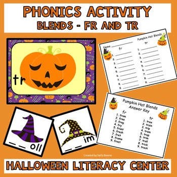 Literacy Center Phonics Activity Blends Fr and Tr  Halloween Theme