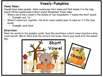 Literacy Center Phonics Activity Vowel Sounds Halloween Theme