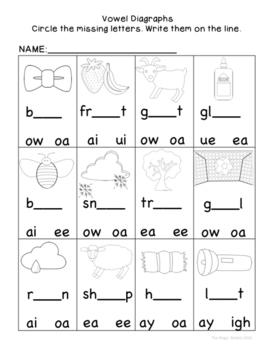 Literacy Center-Phonics {Vowel Diagraphs}