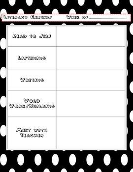 Literacy Center Planning Sheet with Mickey Mouse Font