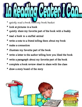 """Literacy Center Posters and """"I Can"""" Lists"""