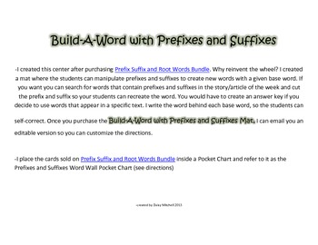 Literacy Center Prefixes and Suffixes Mat to Build NEW Word using Spelling Word