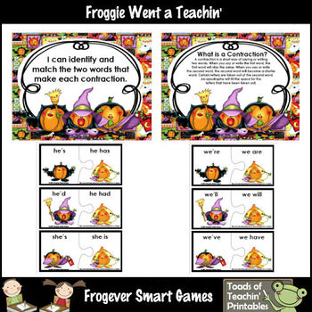 Contractions--Pumpkin Masquerade Contraction Puzzles