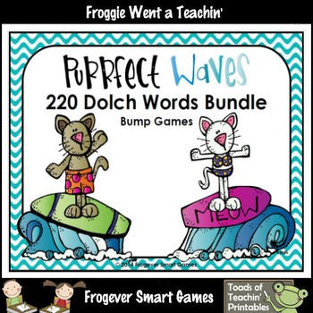 Literacy Center--Purrfect Waves 220 Dolch Words Bump Games