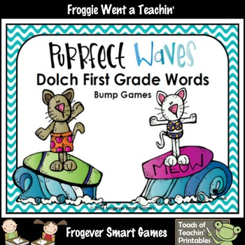 Literacy Center--Purrfect Waves Dolch First Grade Words Bump Games