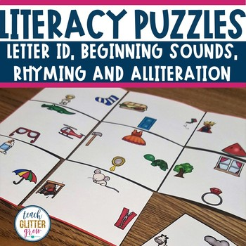 Literacy Center Puzzles | Letter ID, Rhyming, Alliteration, and Beginning Sounds