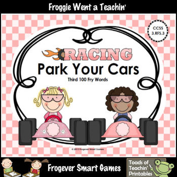 Literacy Center--Racing Readers Park Your Cars (Third 100 Fry Words)