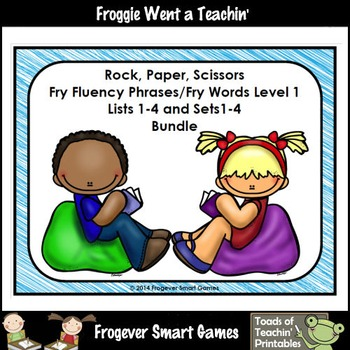 Literacy Center-Rock Paper Scissors Fluency Phrases Fry Words Bundle Level 1