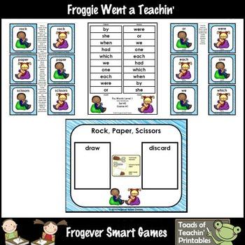 Literacy Center-Rock Paper Scissors Fry Fluency Phrases Fry Words Level 1 List 2