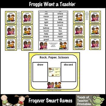 Literacy Center-Rock Paper Scissors Fry Fluency Phrases Fry Words Level 2 List 6