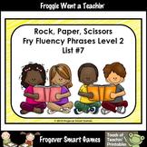 Literacy Center-Rock Paper Scissors Fry Fluency Phrases Fry Words Level 2 List 7