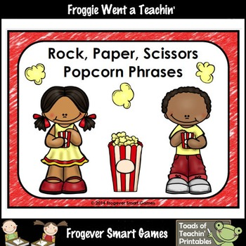Literacy Center-Rock Paper Scissors Popcorn Phrases and Popcorn Words