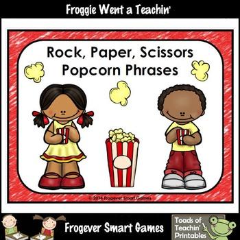 Literacy Center-Rock Paper Scissors Popcorn Phrases and Po