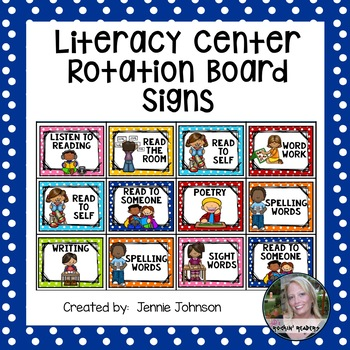 Literacy Center Rotation Board Signs
