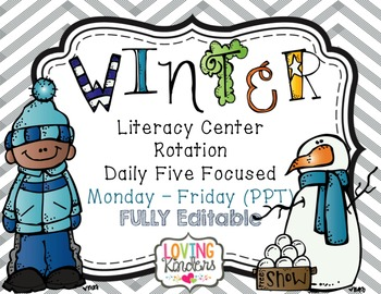 Winter Literacy Center Rotation *Editable* Daily Five