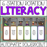 Literacy Center Rotations Automatic PowerPoint (Custom Request Chalkboard)