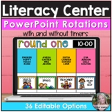 Literacy Center Rotations in Editable Powerpoint with Timers