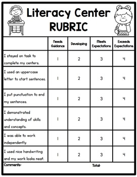 literacy center rubric by sarah paul teachers pay teachers