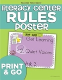 Literacy Center Rules Poster