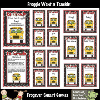 Literacy Center -- School Time Froggies (1st grade dolch words)