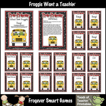 Literacy Center--School Time Froggies (Pre-Primer Words)