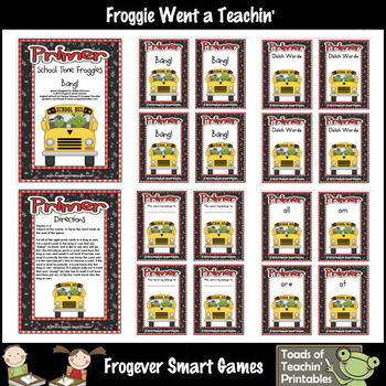 Literacy Center--School Time Froggies (Primer Dolch Words)