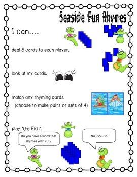 Seaside Fun Rhymes Rhyming Literacy Center Short Vowel CVC words
