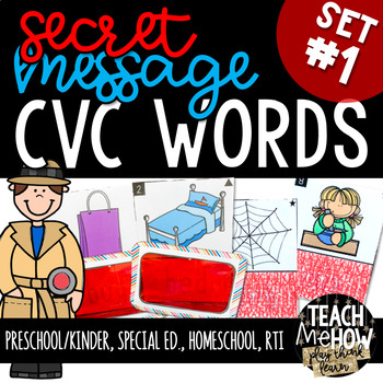 Literacy Center: Secret Message Write the Room, CVC Words, Set 1
