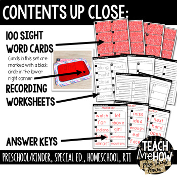 Literacy Center: Secret Message Sight Words, FRY First 100, with RED Decoder