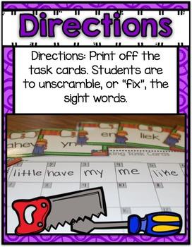 Literacy Center ~ Sight Word Fixing
