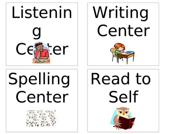 Literacy Center Signs