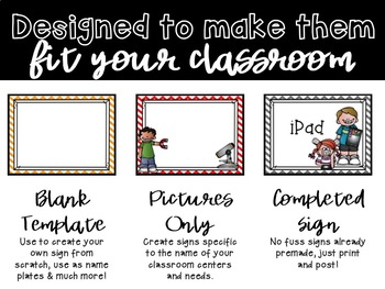 Literacy Center Signs {Editable}