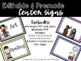 Chevron Literacy Center Signs {Editable}