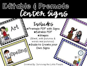 Literacy Center Signs {Editable}