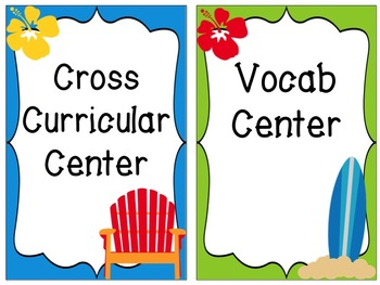 Literacy Center Signs: Surfing Theme EDITABLE
