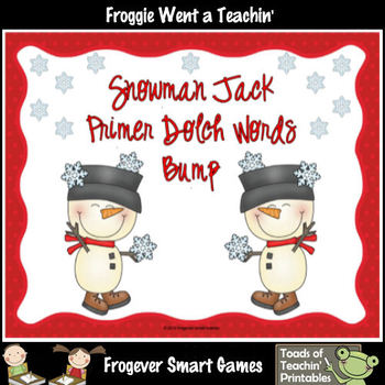 Literacy Center--Snowman Jack Dolch Primer Words Bump Games