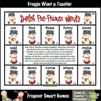 Literacy Center--Snowman Jack Pre-Primer Dolch Words Bump Games