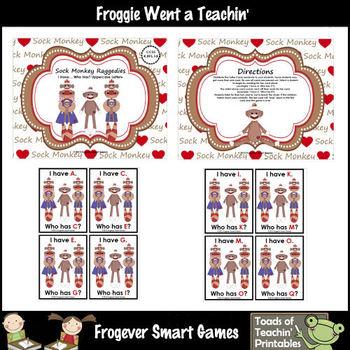 Literacy Center--Sock Monkey Raggedies I Have... Who Has? (Alphabet)